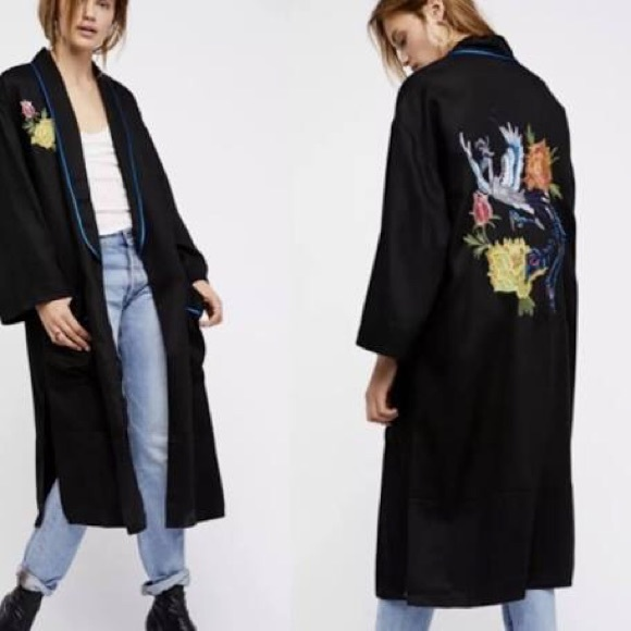 free people embroidered bird flower duster coat M